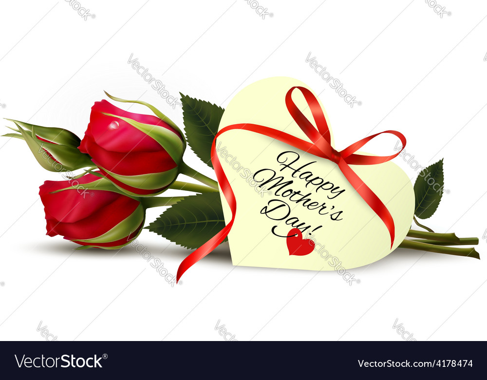 Roses with happy mothers day gift card vector   Price: 3 Credit (USD $3)