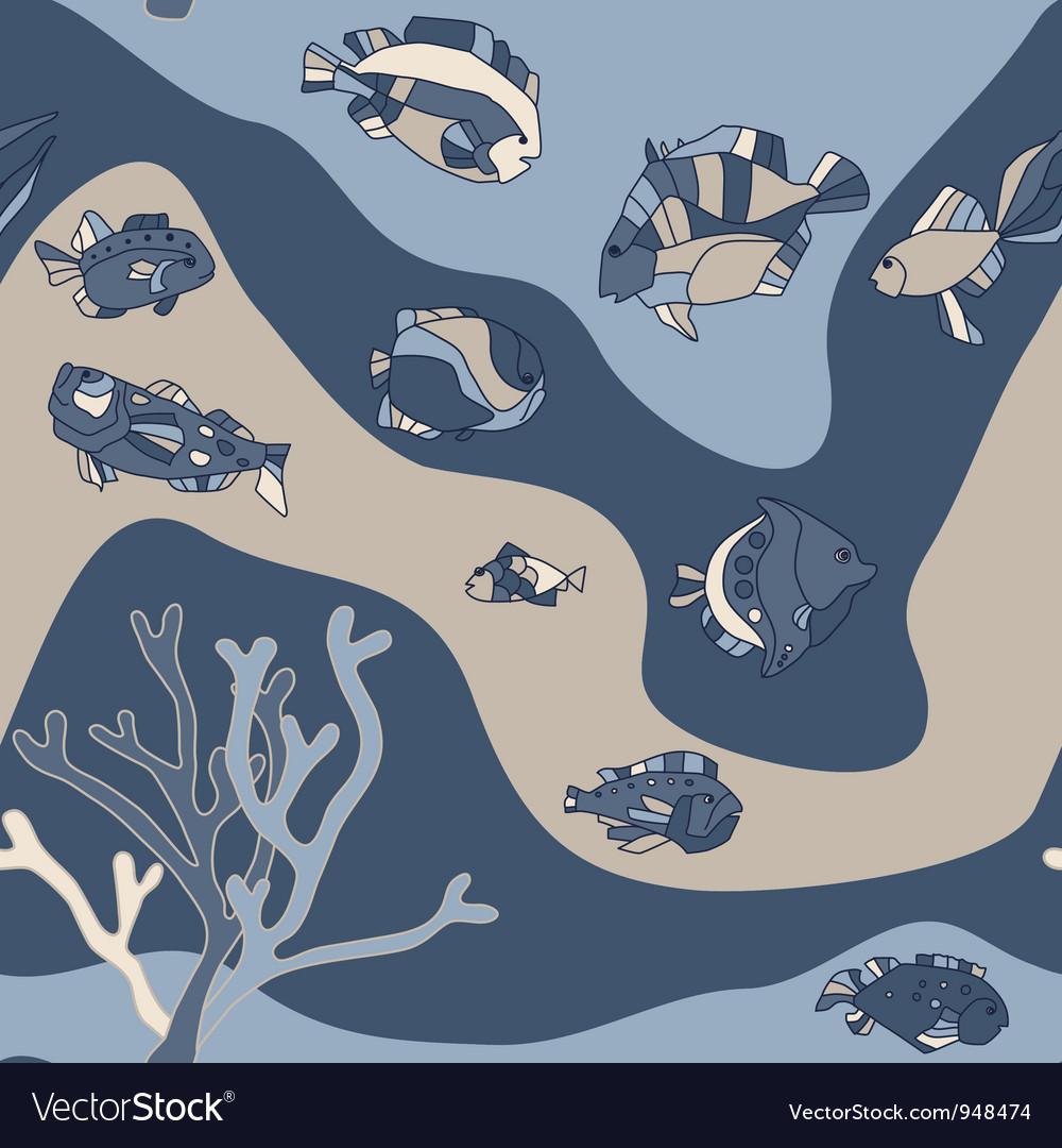 Seamless pattern aquarium fish wave vector | Price: 1 Credit (USD $1)