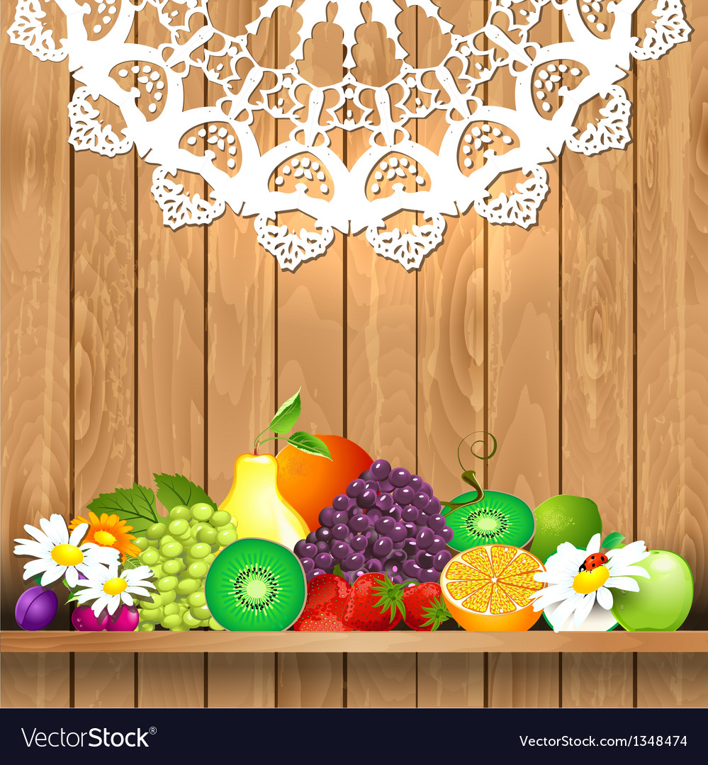 Shelves wooden fruit vector | Price: 1 Credit (USD $1)