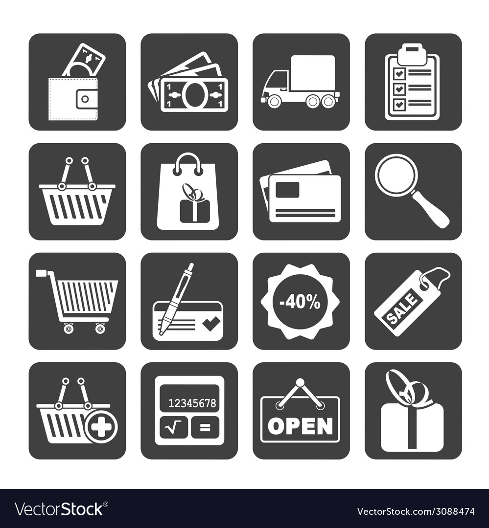 Silhouette shopping and website icons vector | Price: 1 Credit (USD $1)