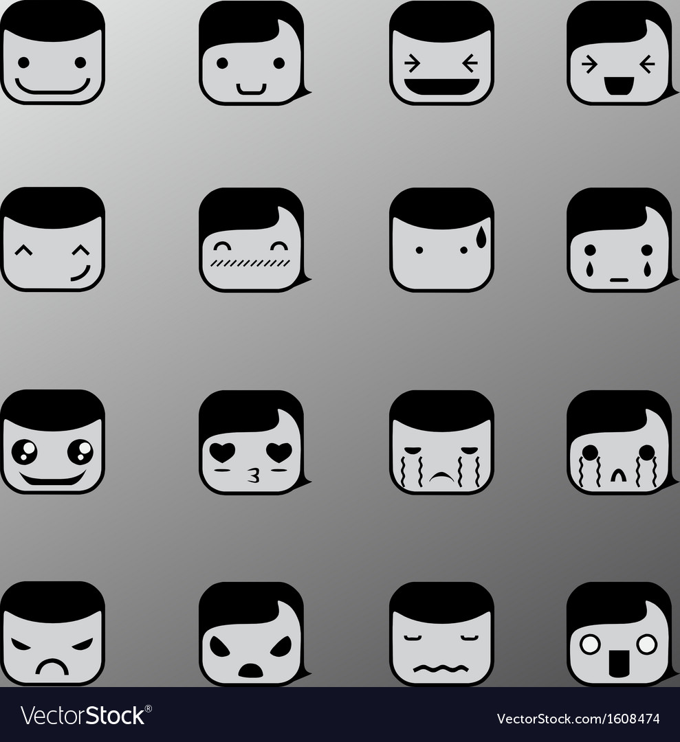 Simple emotion face symbols vector | Price: 1 Credit (USD $1)