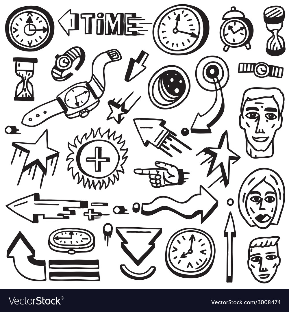 Time doodles vector | Price: 1 Credit (USD $1)