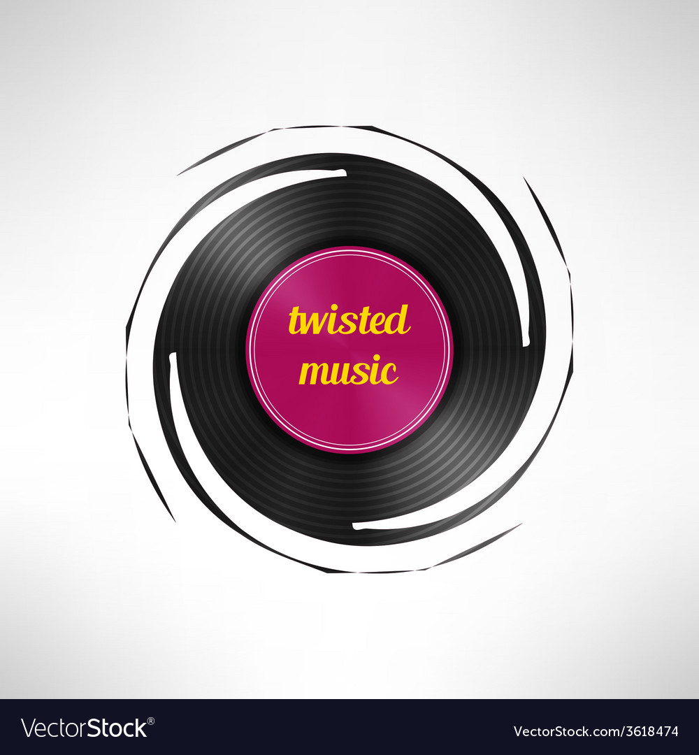 Twisted vinyl disc record dance party flyer vector | Price: 1 Credit (USD $1)