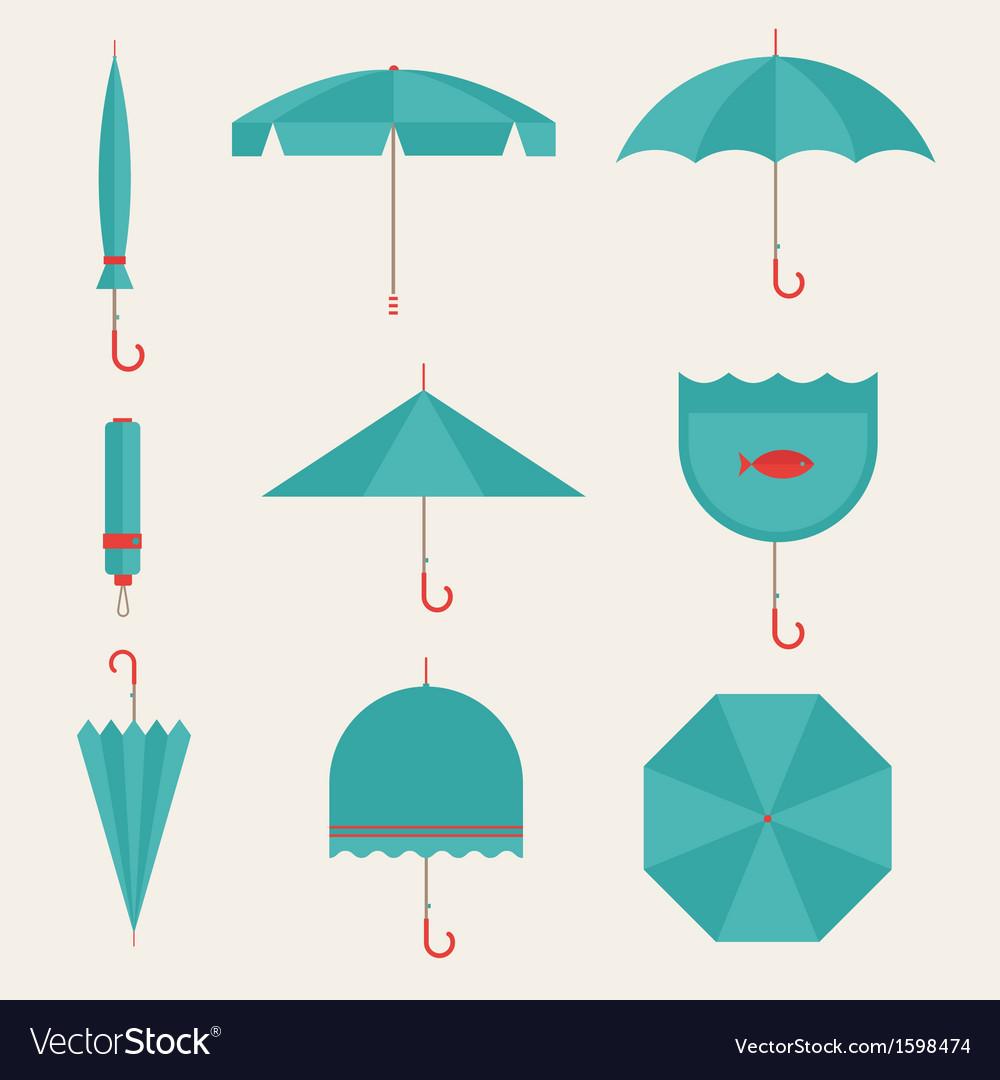 Umbrella icons vector