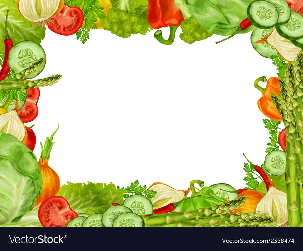 Vegetables set frame vector | Price: 1 Credit (USD $1)