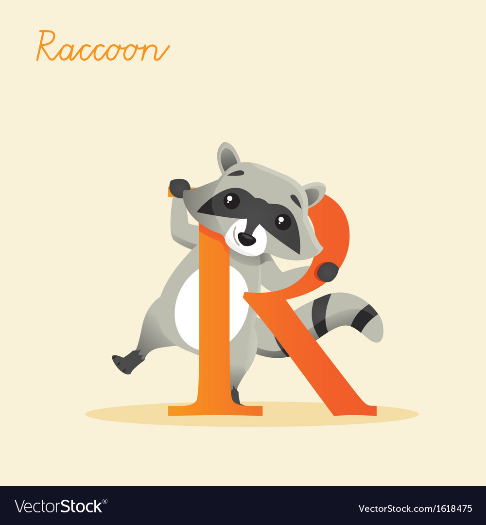 Animal alphabet with raccoon vector