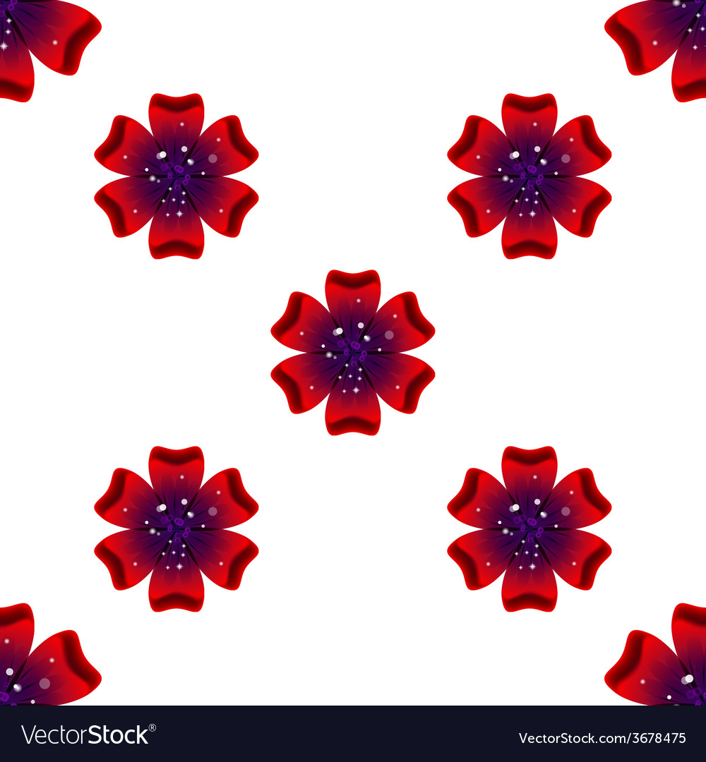 Beautiful rad flower seamless floral pattern vector | Price: 1 Credit (USD $1)