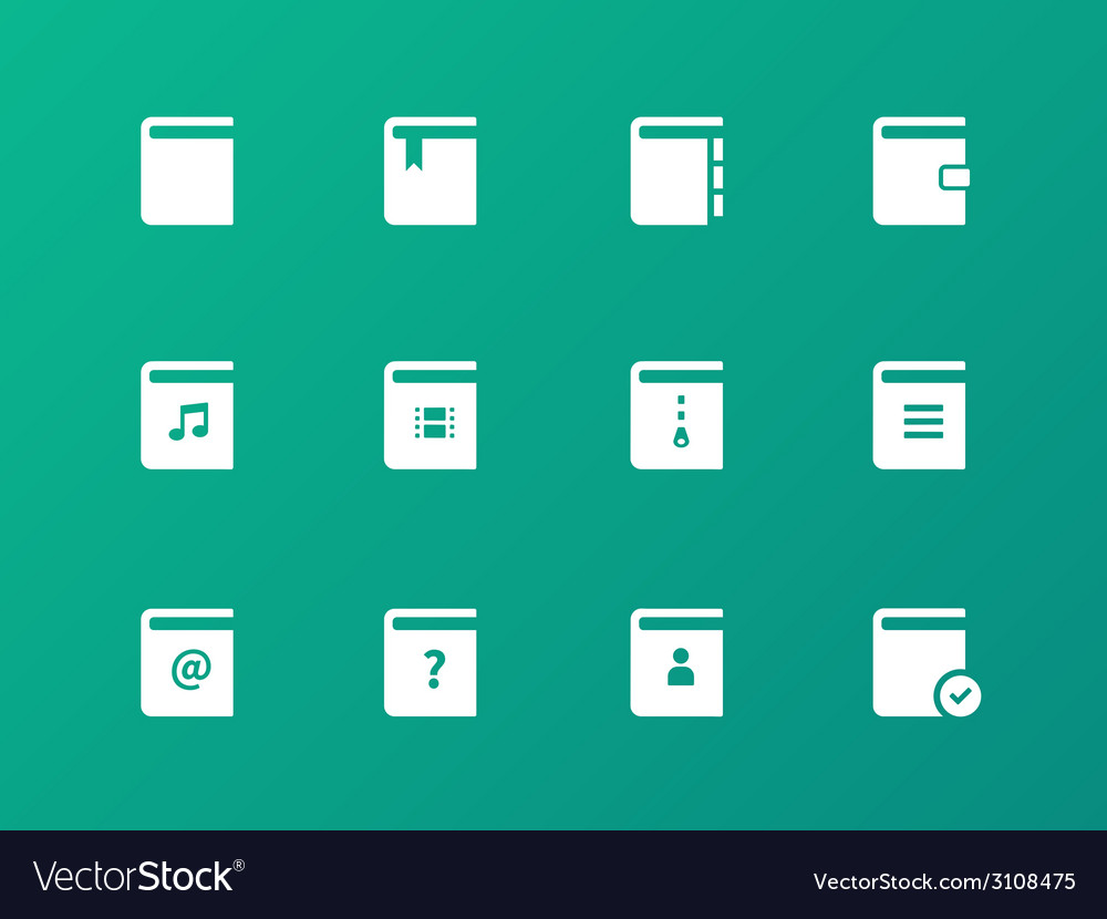 Book icons on green background vector | Price: 1 Credit (USD $1)
