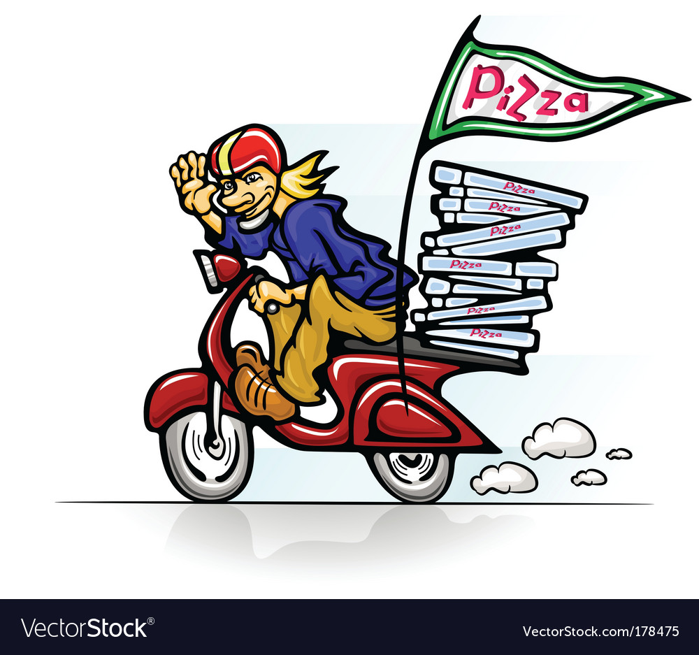Boy delivering pizza on scooter vector | Price: 1 Credit (USD $1)