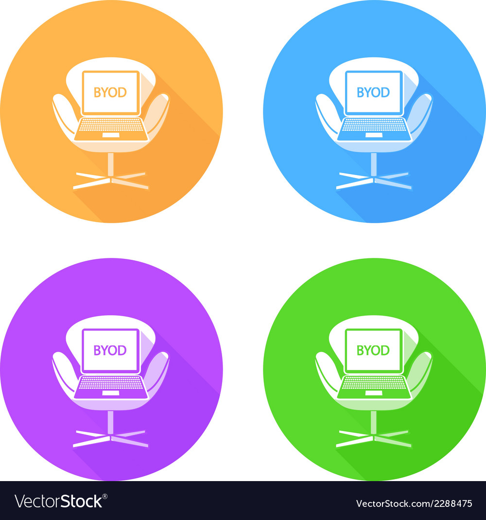 Byod flat long shadow icons vector | Price: 1 Credit (USD $1)