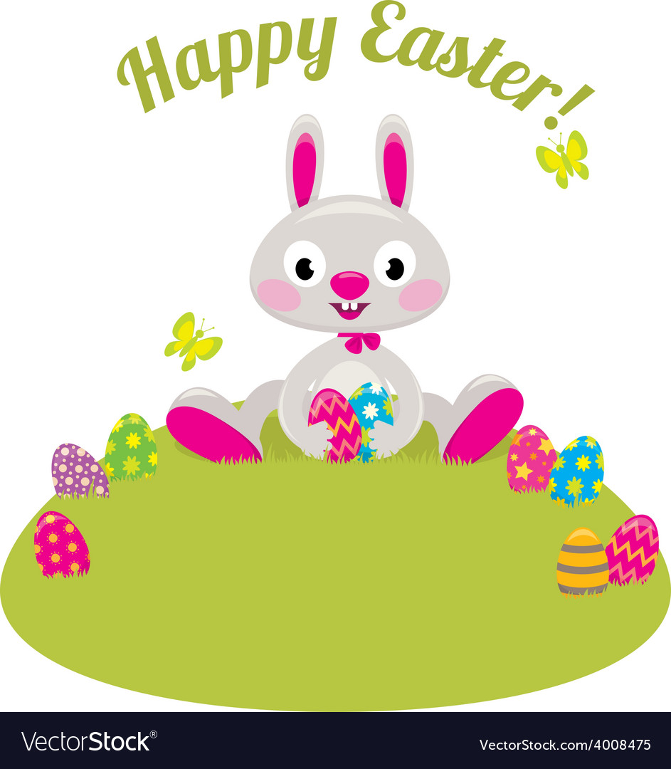 Easter bunny and colored eggs in the grass vector | Price: 1 Credit (USD $1)