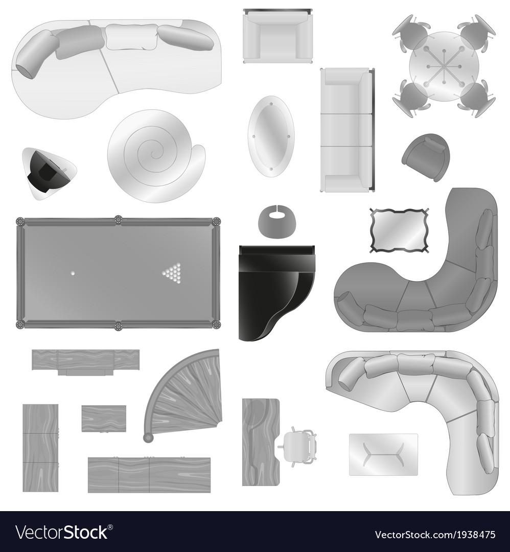Graphic set of isolated interior furniture vector | Price: 1 Credit (USD $1)