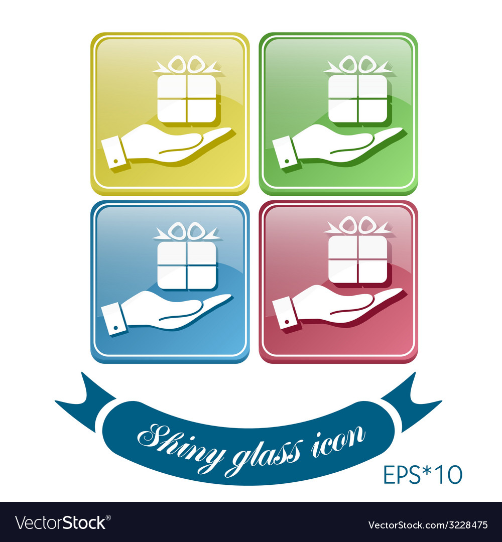 Hand holding a holiday gift box icon eps 8 vector | Price: 1 Credit (USD $1)
