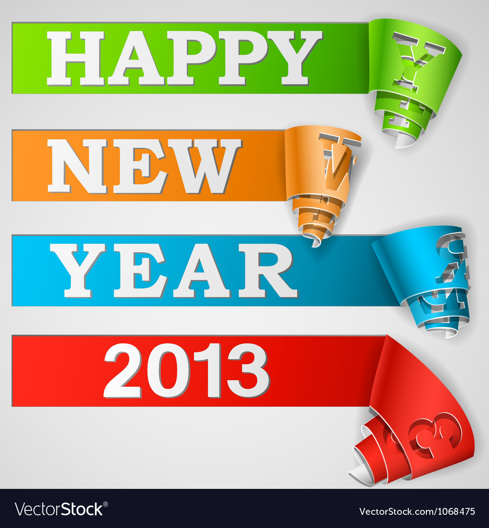 Happy new year curled strips eps10 vector | Price: 1 Credit (USD $1)