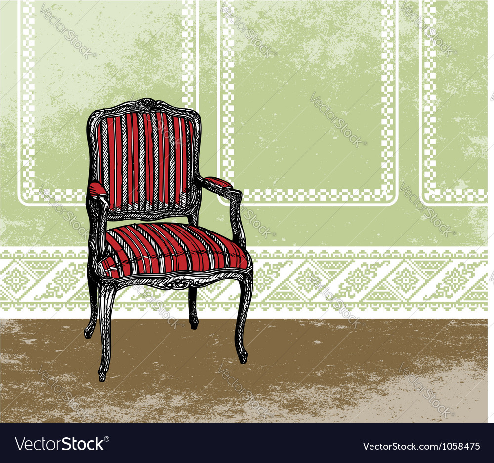 Interior design scene with an armchair vector | Price: 1 Credit (USD $1)
