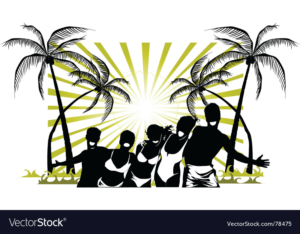 Palm beach party vector | Price: 1 Credit (USD $1)