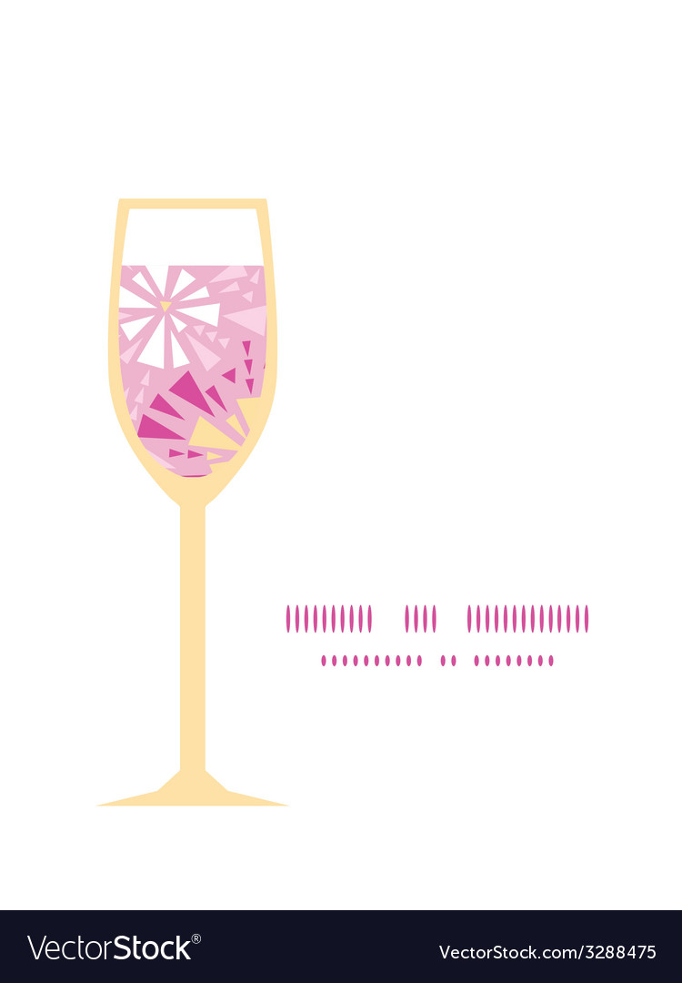 Pink abstract triangles wine glass silhouette vector | Price: 1 Credit (USD $1)