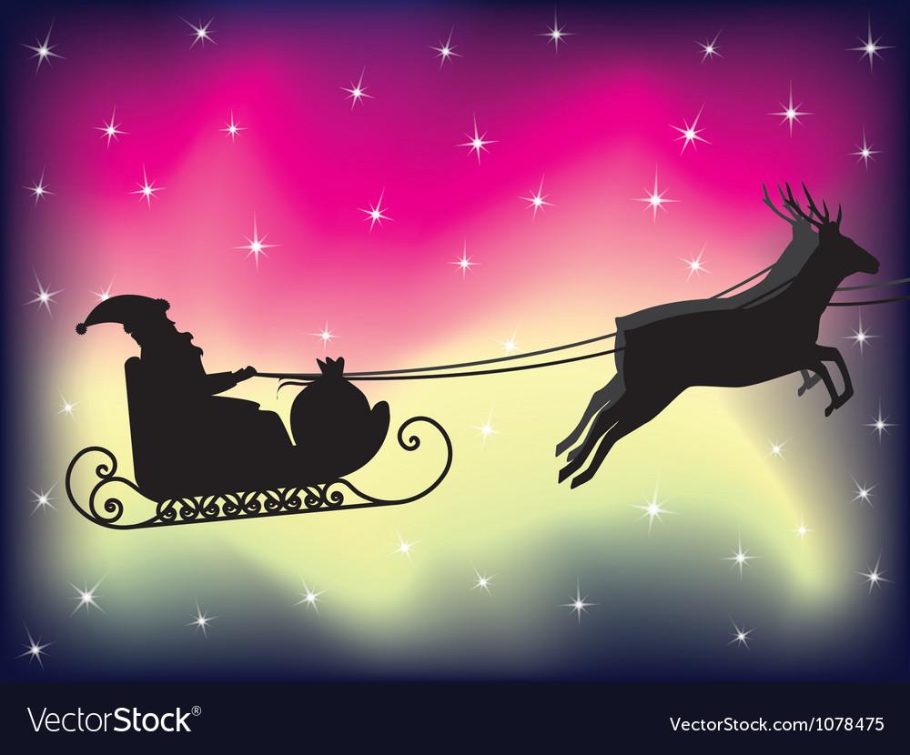 Santa sleigh over polar lights vector | Price: 1 Credit (USD $1)