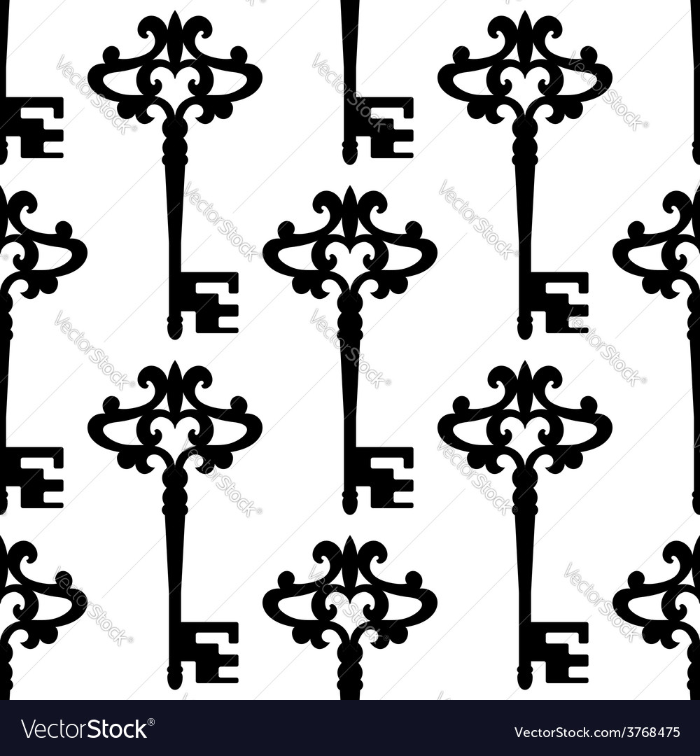 Seamless background pattern of a vintage keys vector | Price: 1 Credit (USD $1)