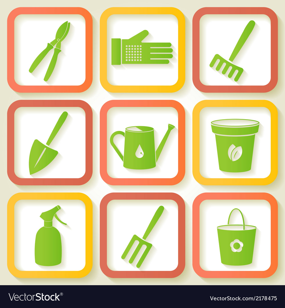 Set of 9 icons of garden instruments vector | Price: 1 Credit (USD $1)
