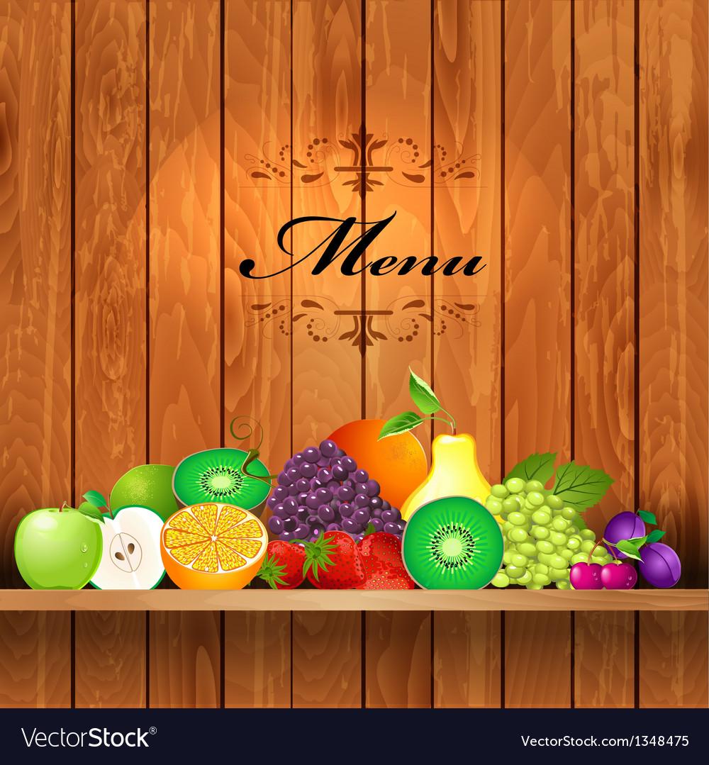 Shelves wooden fruit2 vector | Price: 1 Credit (USD $1)