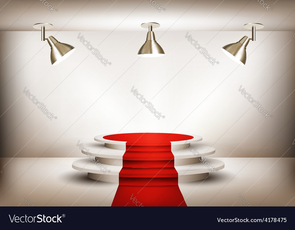 Showroom with red carpet leading to a podium and vector | Price: 3 Credit (USD $3)