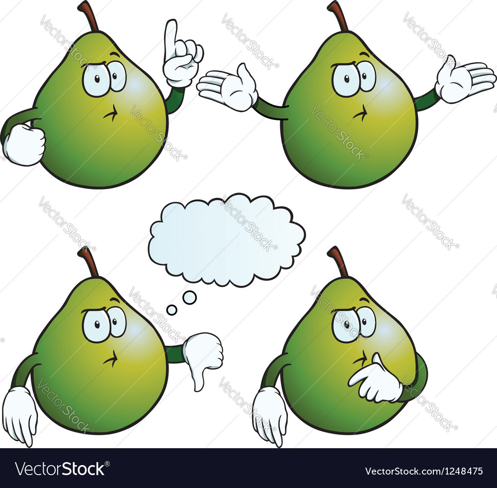 Thinking pear set vector | Price: 1 Credit (USD $1)