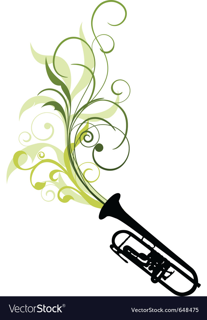 Trombone with floral vector | Price: 1 Credit (USD $1)