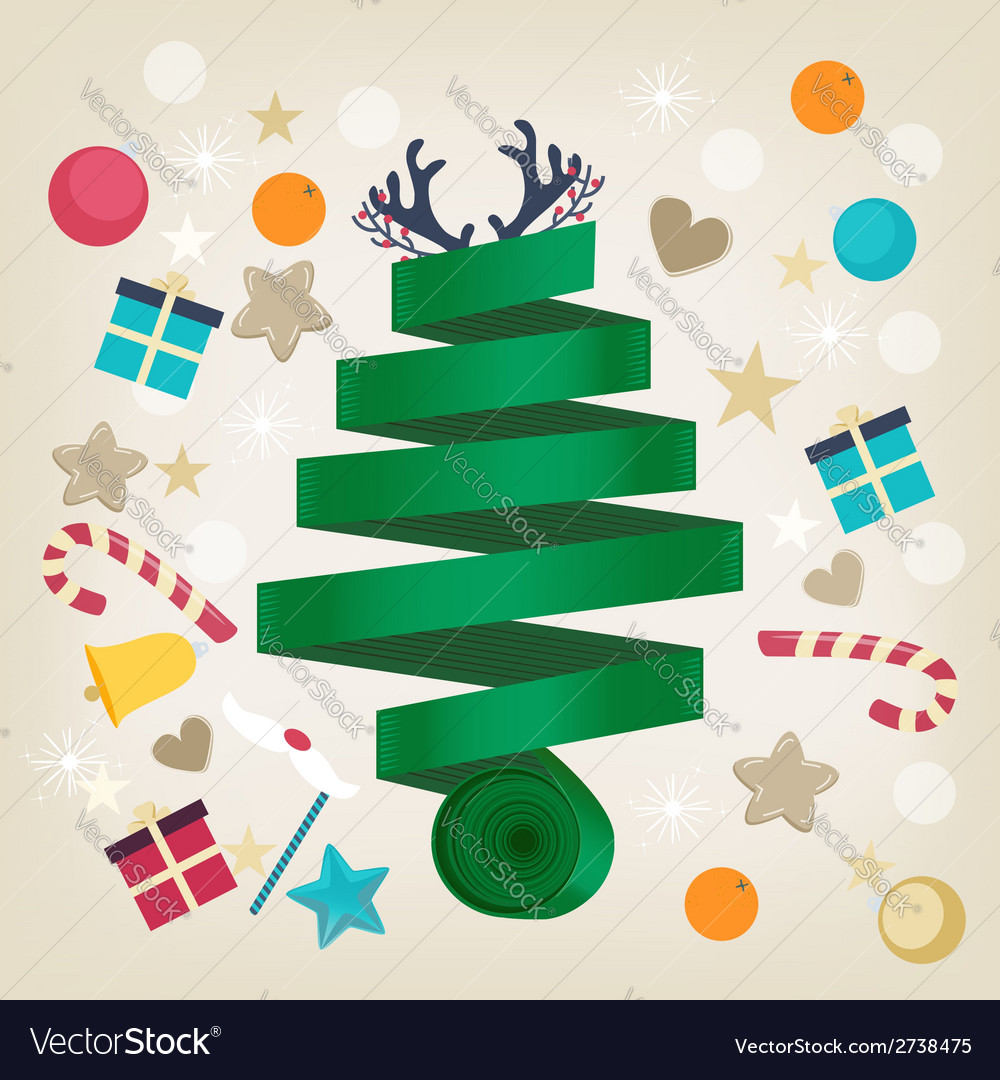 Twirled ribbon christmas tree card design vector | Price: 1 Credit (USD $1)
