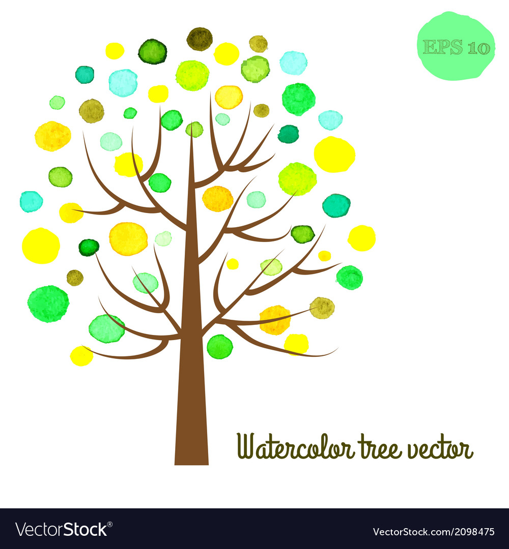 Watercolor tree vector | Price: 1 Credit (USD $1)