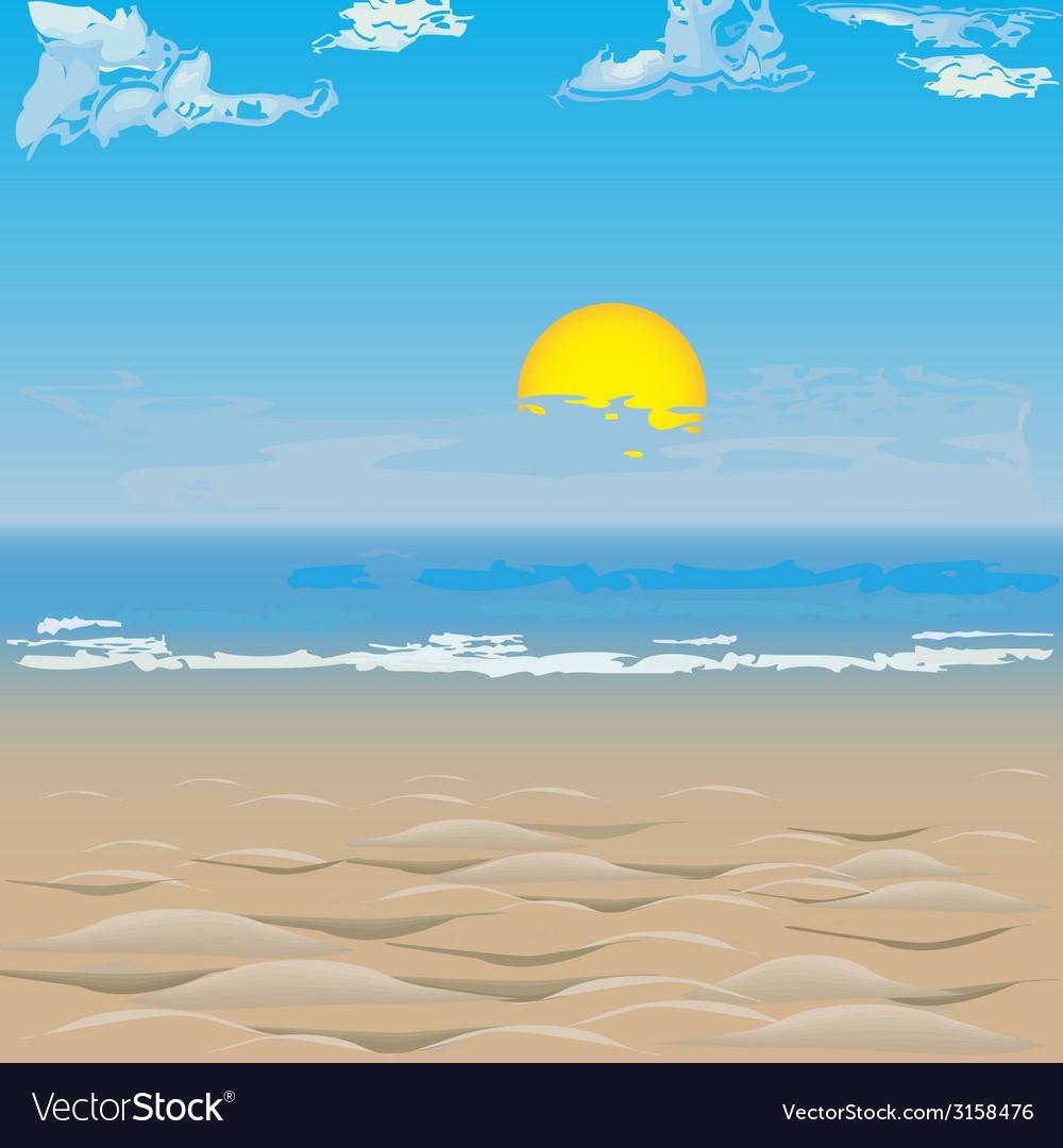 Beach on the ocean vector | Price: 1 Credit (USD $1)