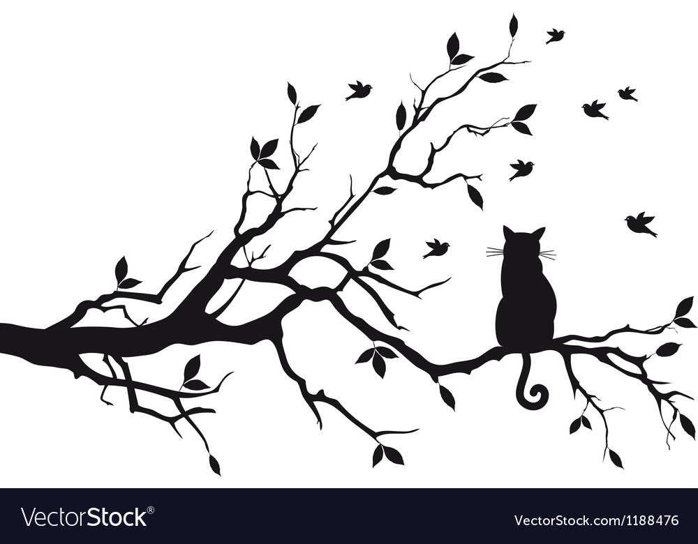 Cat sitting on tree branch vector | Price: 1 Credit (USD $1)