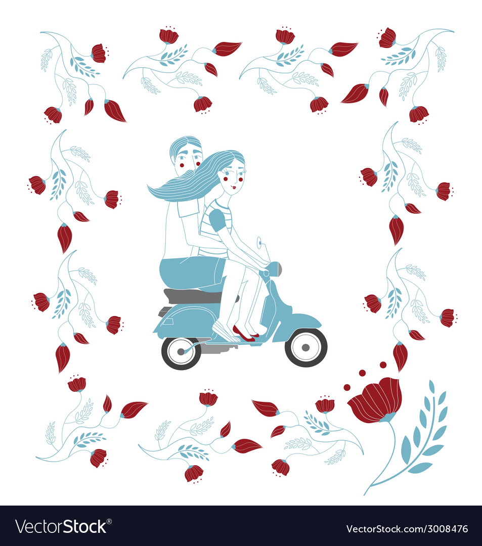 Couple on vespa vector | Price: 1 Credit (USD $1)