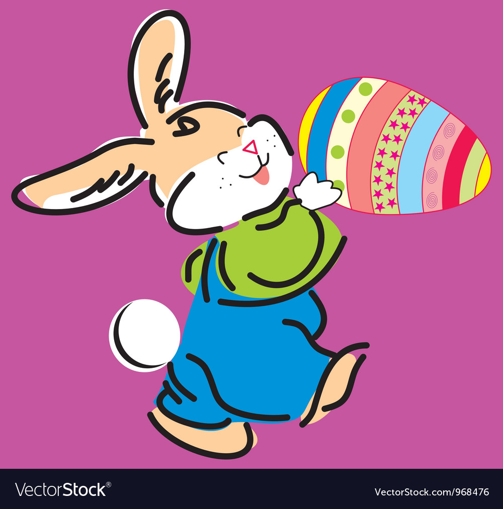 Cute easter bunny holding e vector | Price: 1 Credit (USD $1)