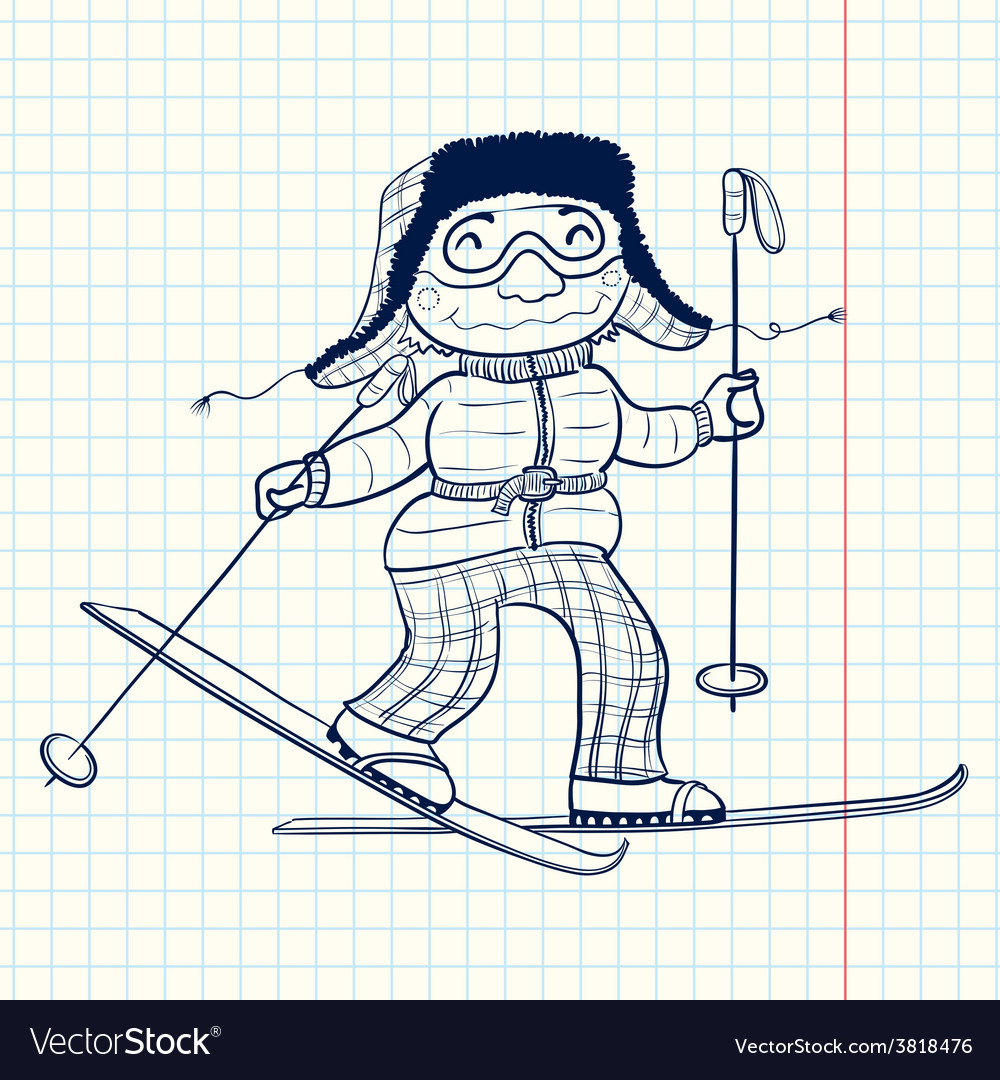 Doodle skier vector | Price: 1 Credit (USD $1)