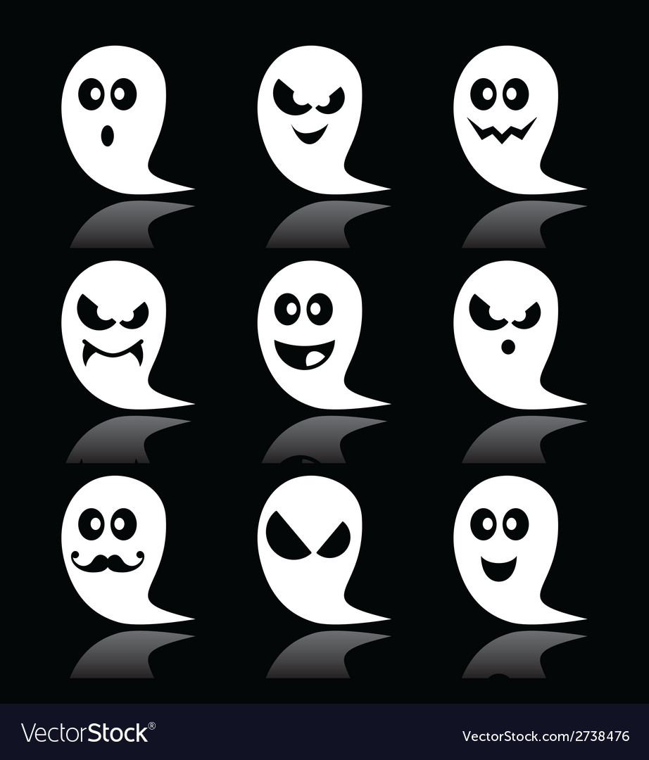 Halloween ghost icons set on black vector | Price: 1 Credit (USD $1)