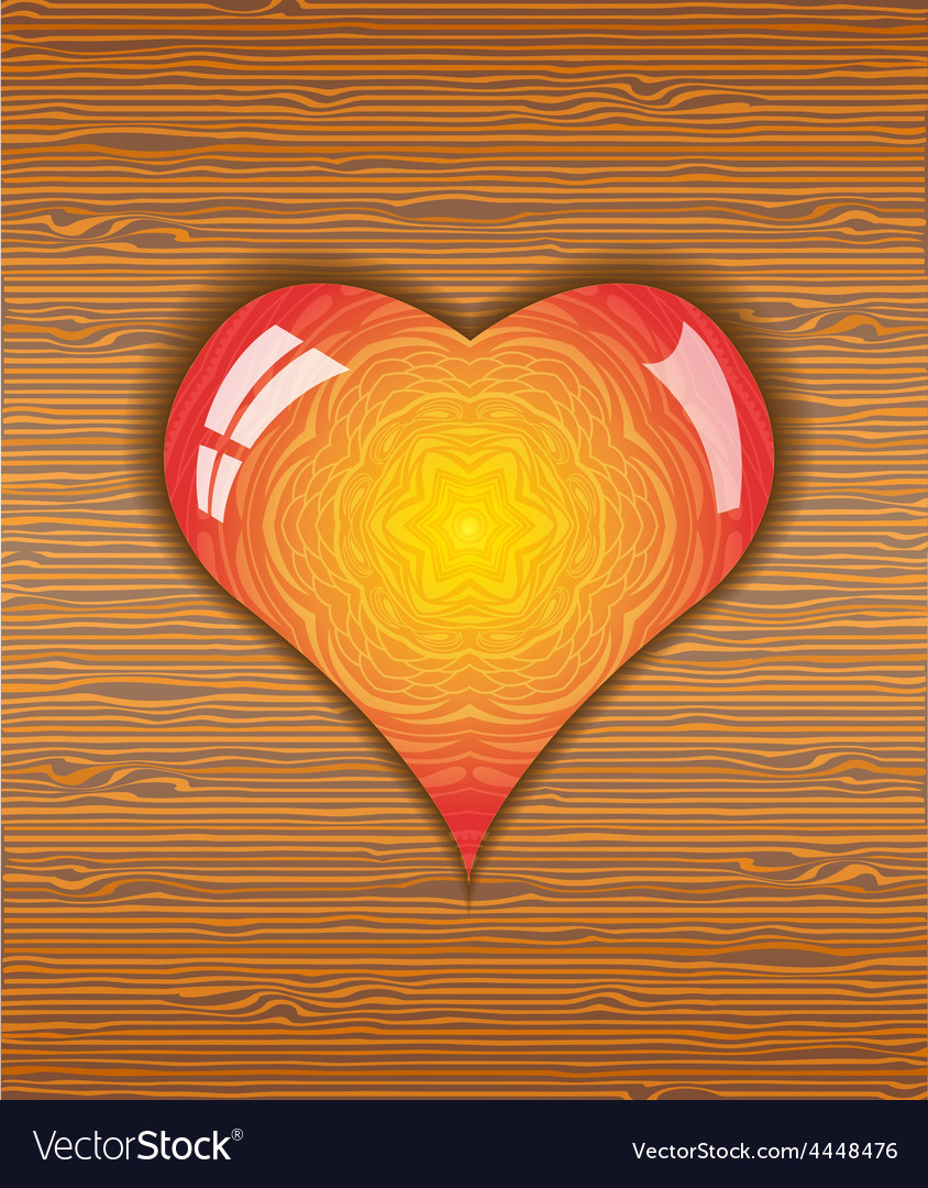 Heart on wood texture vector | Price: 1 Credit (USD $1)