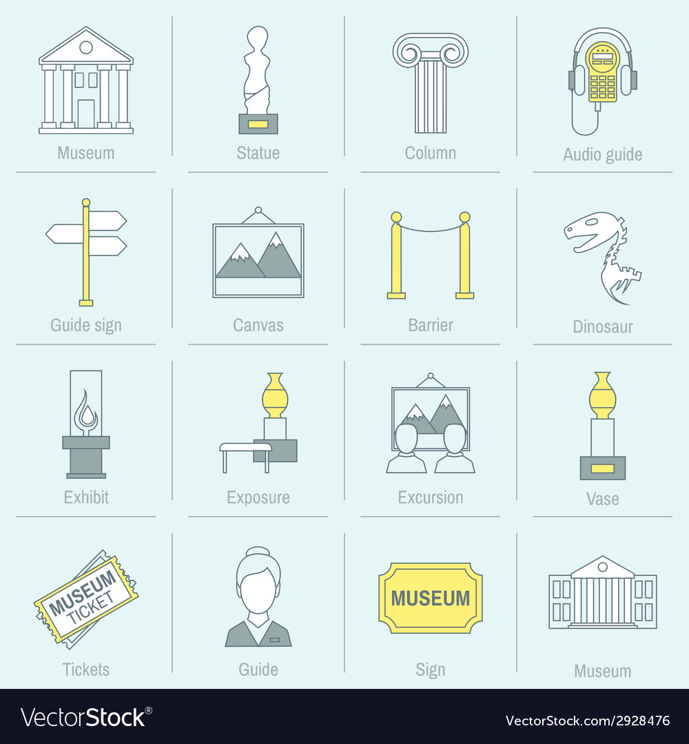 Museum icons flat line vector   Price: 1 Credit (USD $1)