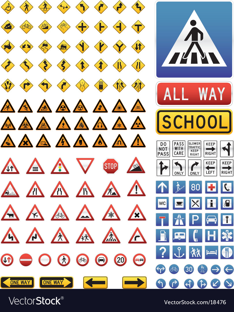 Traffic signs set vector | Price: 3 Credit (USD $3)