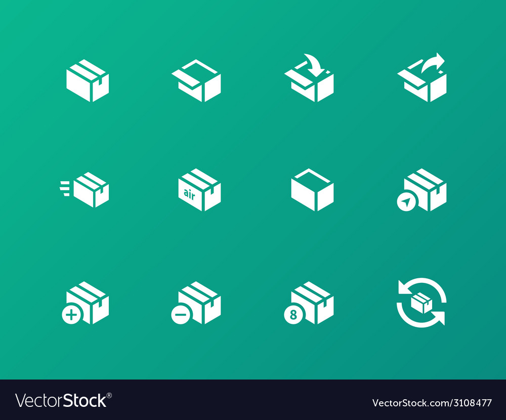 Box icons on green background vector | Price: 1 Credit (USD $1)