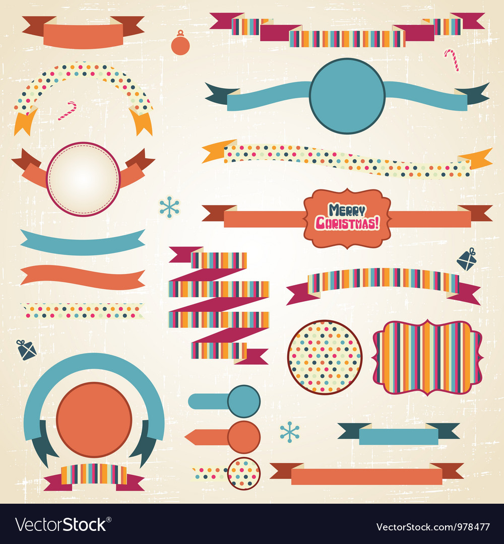 Christmas ribbons labels set vector | Price: 1 Credit (USD $1)