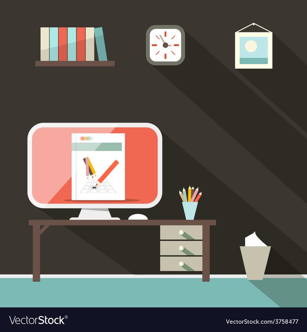 Flat design retro office room vector | Price: 1 Credit (USD $1)