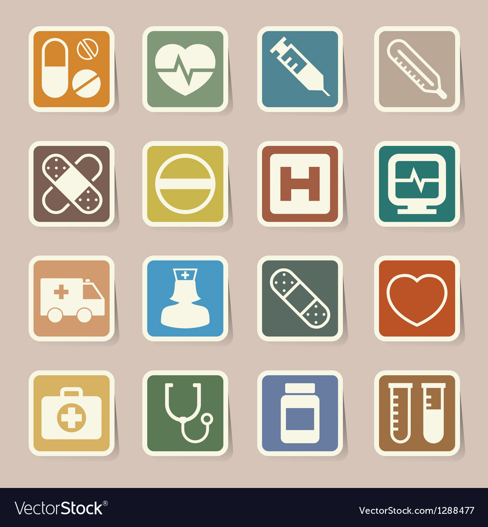 Medical sticker icons set eps 10 vector | Price: 1 Credit (USD $1)