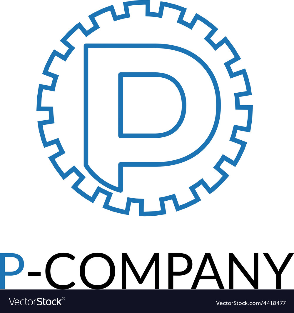 Minimalistic blue p letter cog logotype vector | Price: 1 Credit (USD $1)