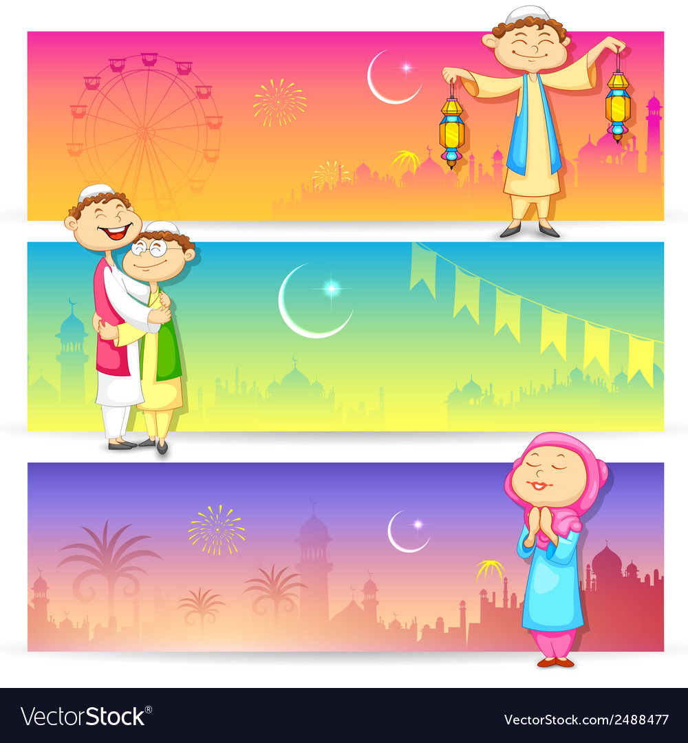 People celebrating eid vector | Price: 1 Credit (USD $1)