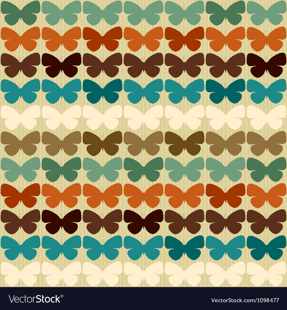 Seamless pattern with butterflies in retro style vector | Price: 1 Credit (USD $1)