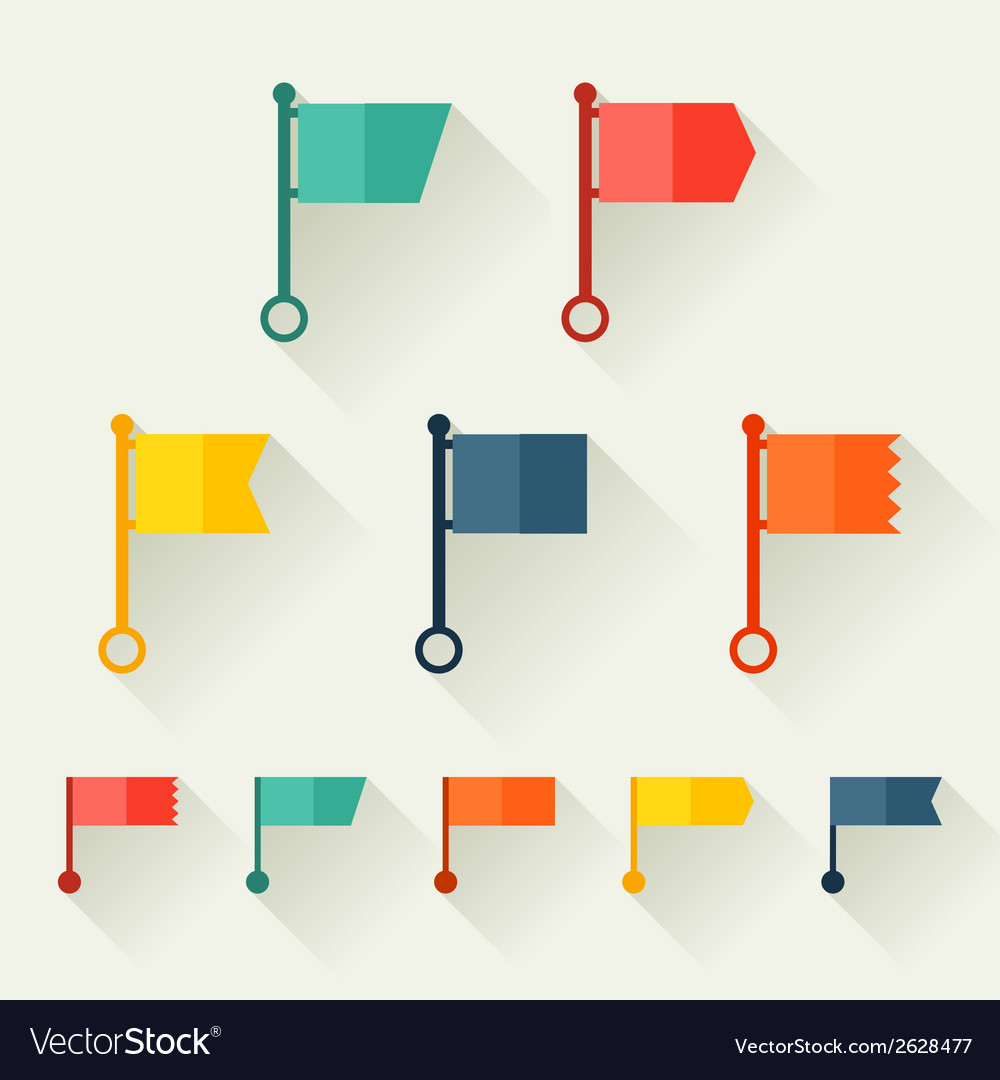 Set of flags for design in flat style vector | Price: 1 Credit (USD $1)