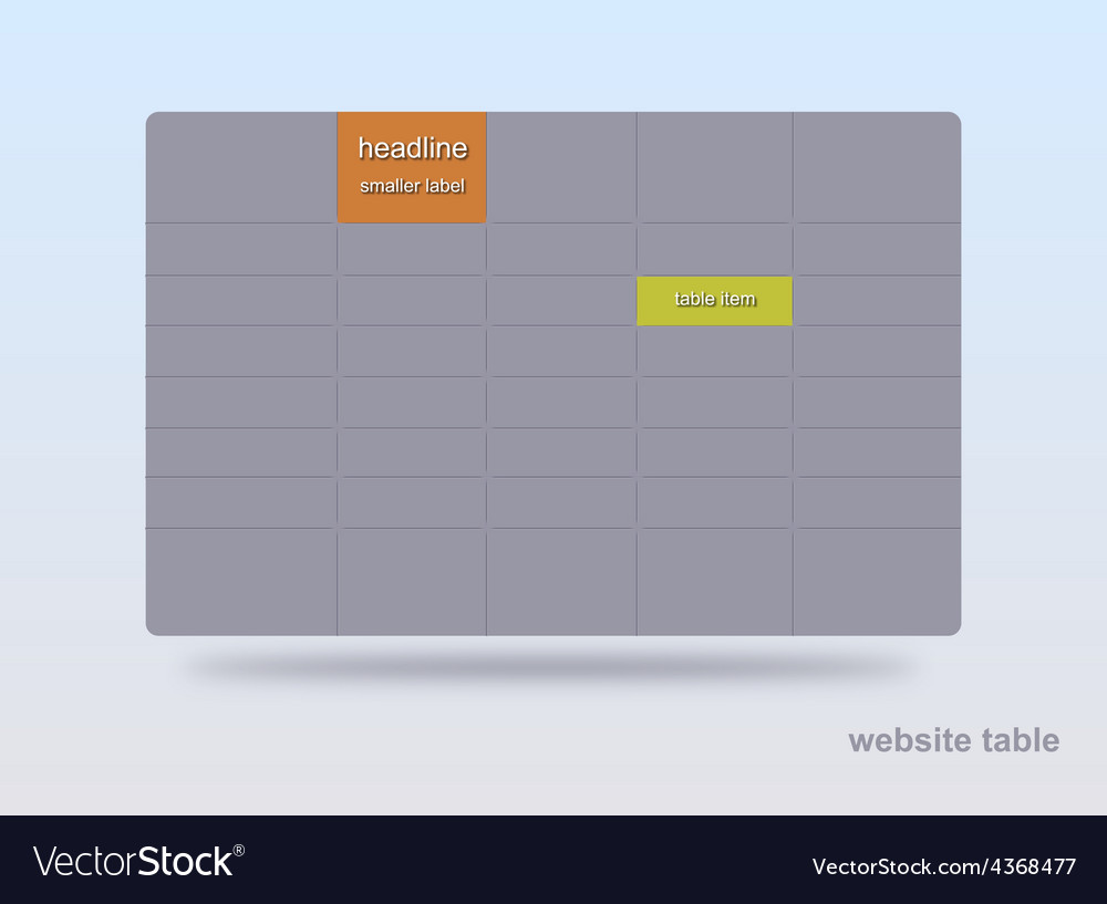 Website table vector | Price: 1 Credit (USD $1)