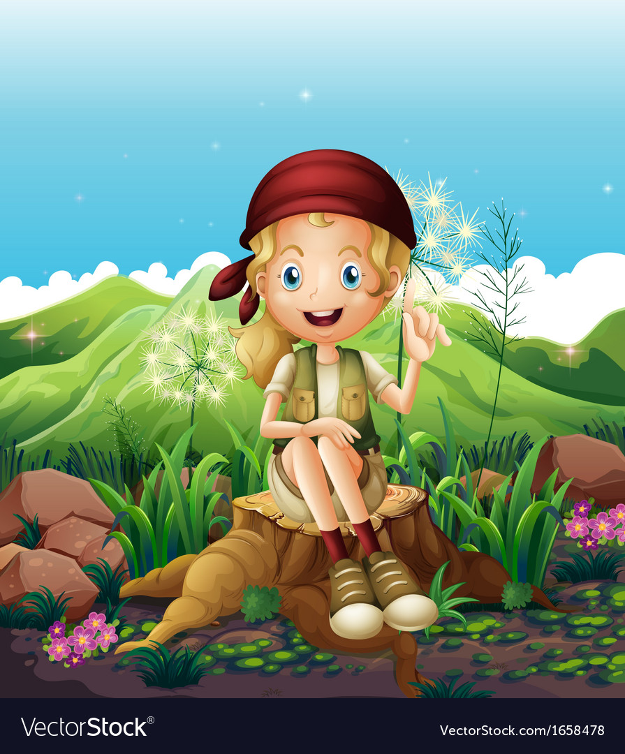 A cute female explorer sitting above the stump vector | Price: 3 Credit (USD $3)