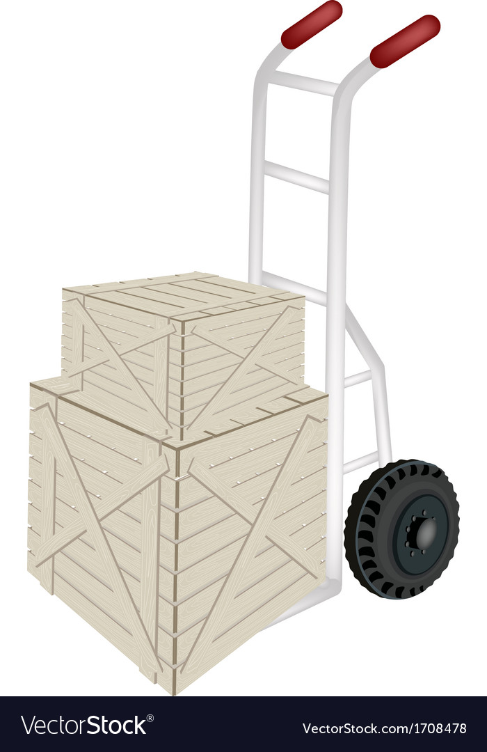 A hand truck loading two shipping boxes vector | Price: 1 Credit (USD $1)
